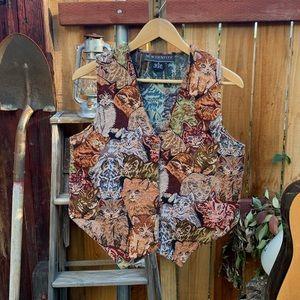 Vintage 90's Cat Tapestry Vest.
